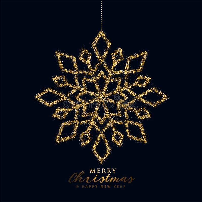 Snowflake-christmas-design i svart- och guldfärg stock illustrationer