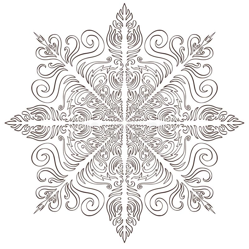 Snowflake Christmas illusration. Adult coloring page or temporary tattoo. Creative New Year snowflake print vector illustration