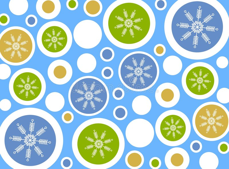 Snowflake Circles Background. A background pattern featuring round circles with snowflakes decorated in blue, brown white and green royalty free illustration