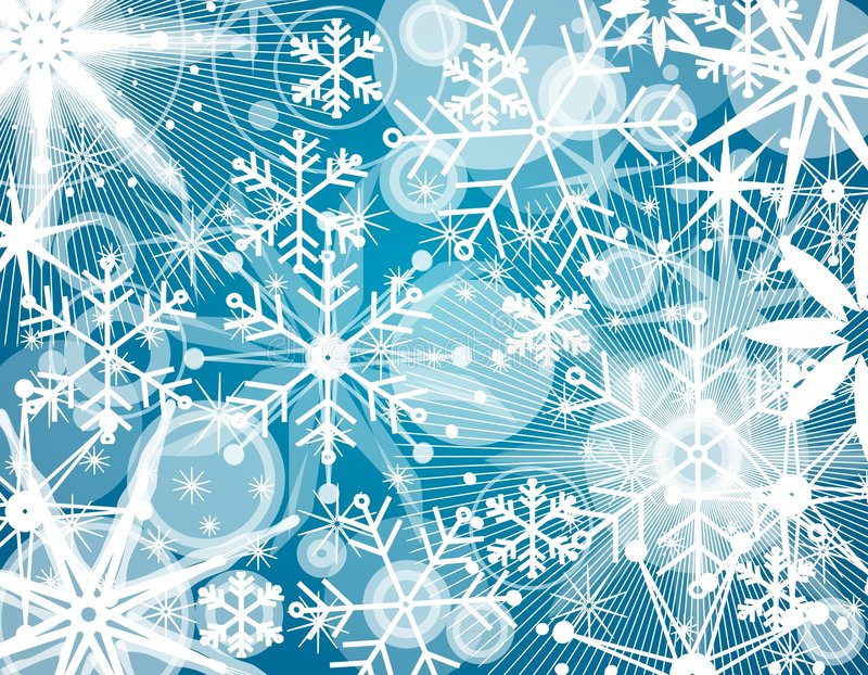 Snowflake Collage Background. A unique Christmas collage background of various snowflakes in white set on blue stock illustration