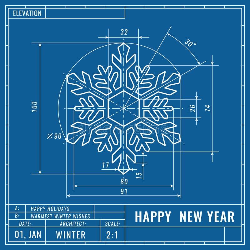 Snowflake come disegno tecnico Concetto tecnico natalizio Disegni di ingegneria meccanica Natale e illustrazione di stock