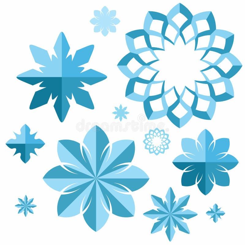 snowflake conjunto ilustración del vector