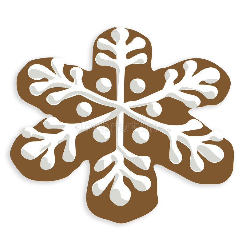 Snowflake cookie. Christmas snowflake cookie with white icing. If you are interested see also Gingerbread man cookie illustration stock illustration