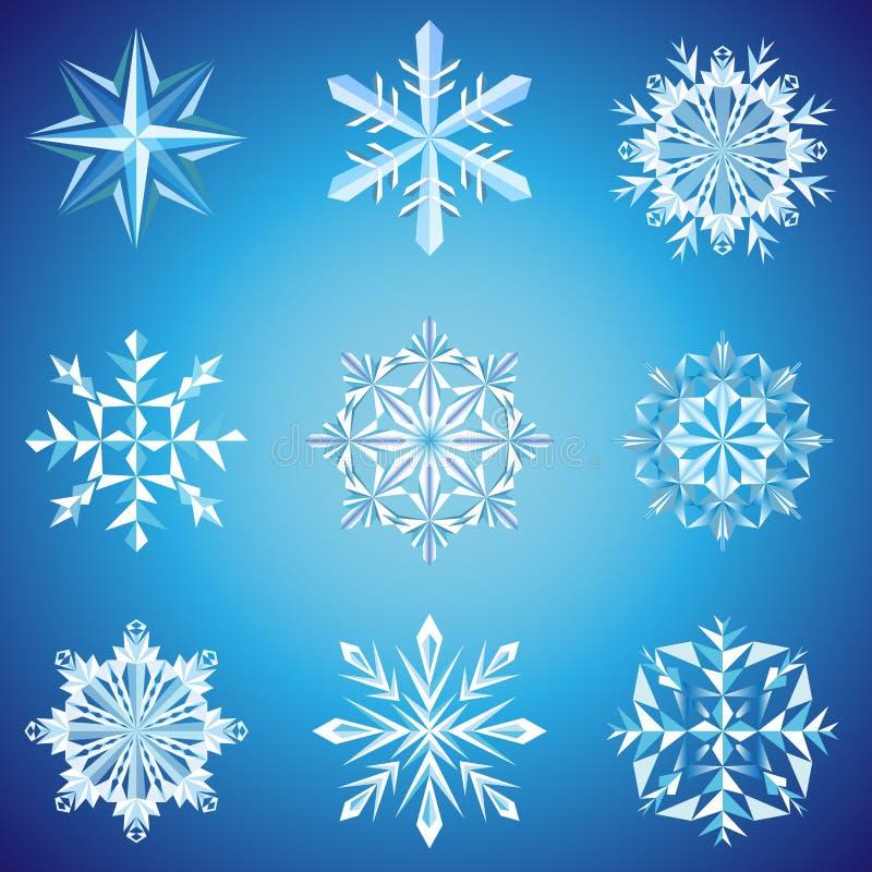 Snowflake crystals. On blue background illustration stock illustration