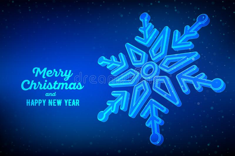 Snowflake. 3d snowflake on blue background. Graphic winter background. Merry Christmas Greetings card. Happy New Year. Winter stock illustration