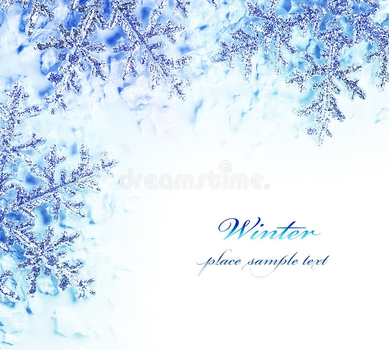 Snowflake decorative border stock photos