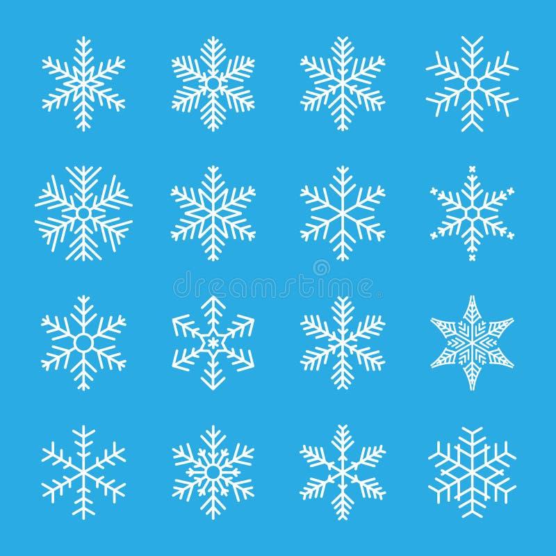 Snowflake ensemble hivernal d'icônes bleues isolées silhouette sur fond blanc Illustration vectorielle illustration de vecteur