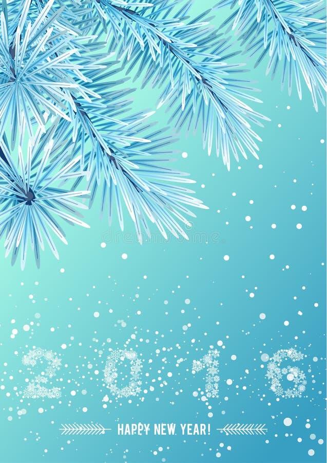 Snowflake figures 2016 on snow frozen tree branch vector illustration