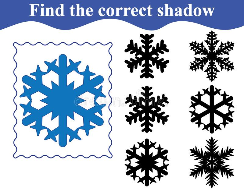 Snowflake, find the shadow. Education for kids. stock illustration