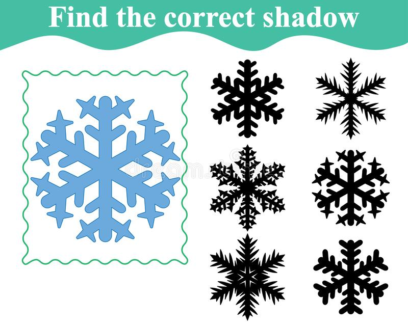 Snowflake, find the shadow. Education for kids. vector illustration