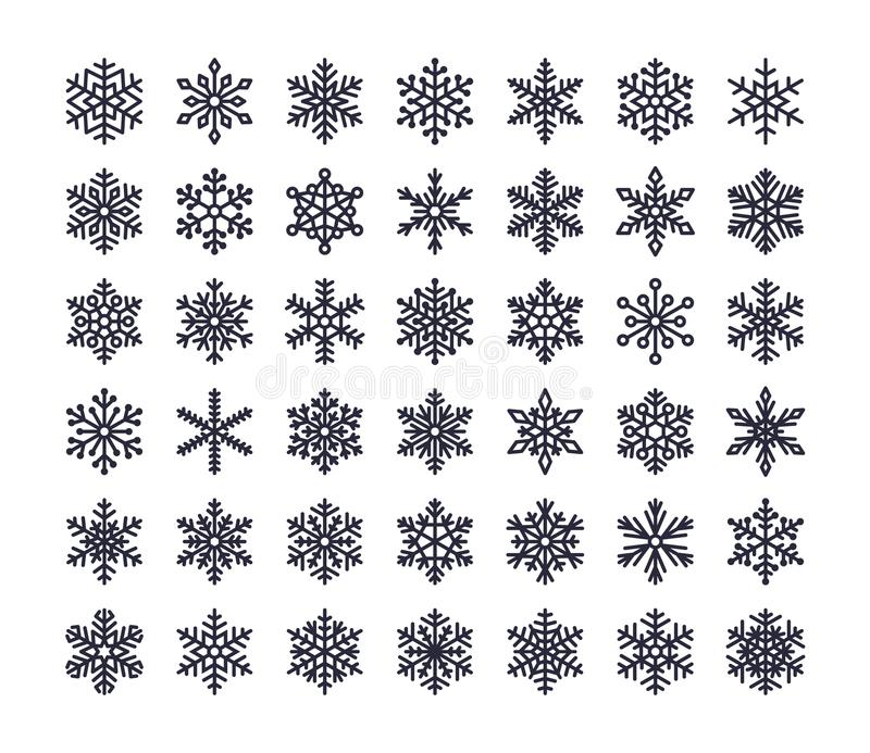 Snowflake flat icons set. Collection of cute geometric snowflakes, stylized snowfall. Design element for christmas or. New year card, winter ornament. Frozen stock illustration