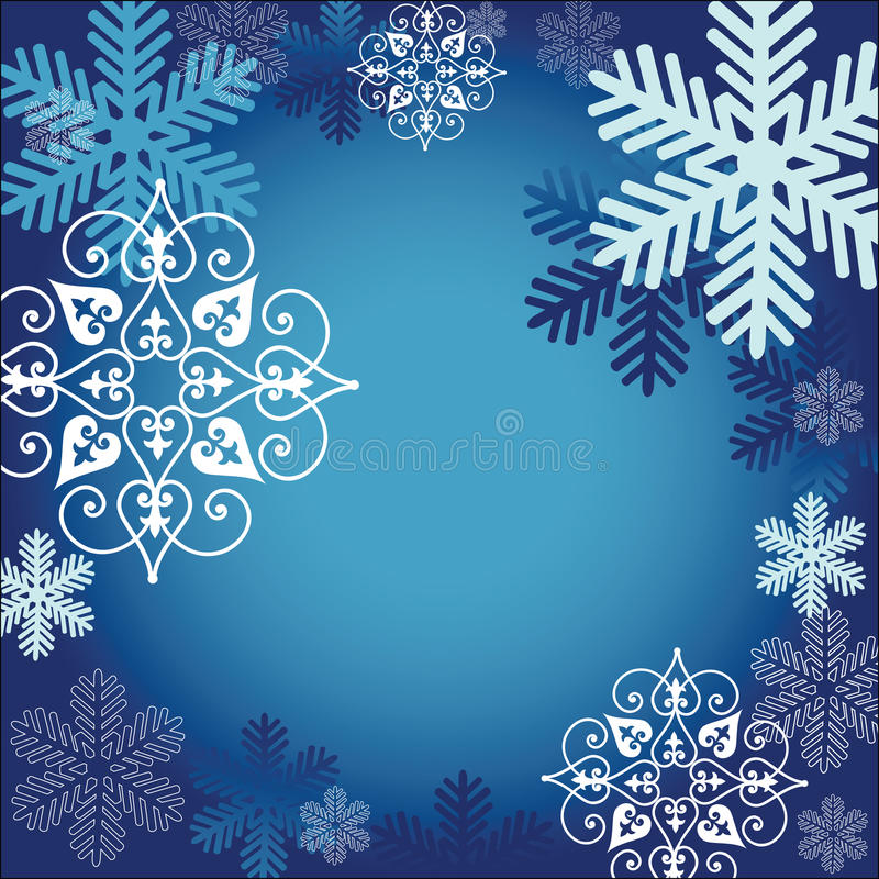 Snowflake frame. Snowflakes surrounding center with room for input - one ornate snowflake stock illustration