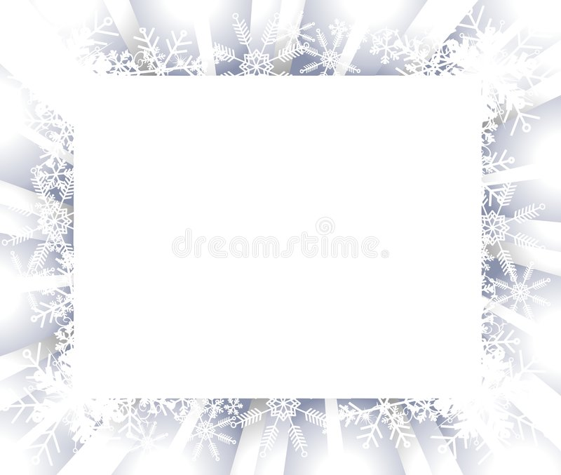 Snowflake Frame or Border. A background illustration of a light blue and white gradient snowflake border or frame vector illustration