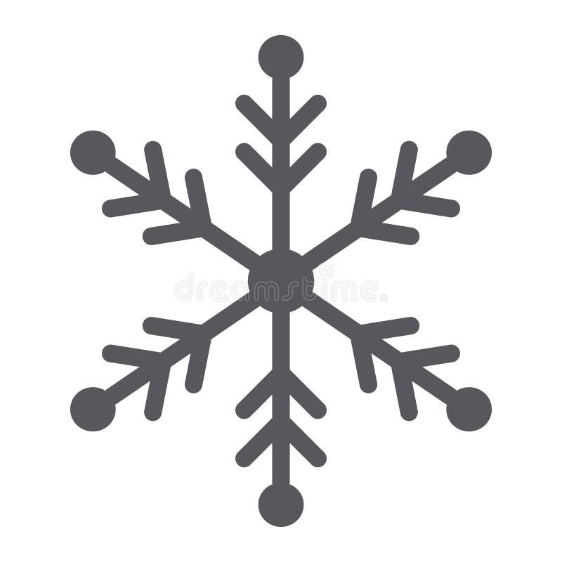Snowflake glyph εικονίδιο, καιρός και κλίμα, σημάδι χιονιού, διανυσματική γραφική παράσταση, ένα στερεό σχέδιο σε ένα άσπρο υπόβα απεικόνιση αποθεμάτων