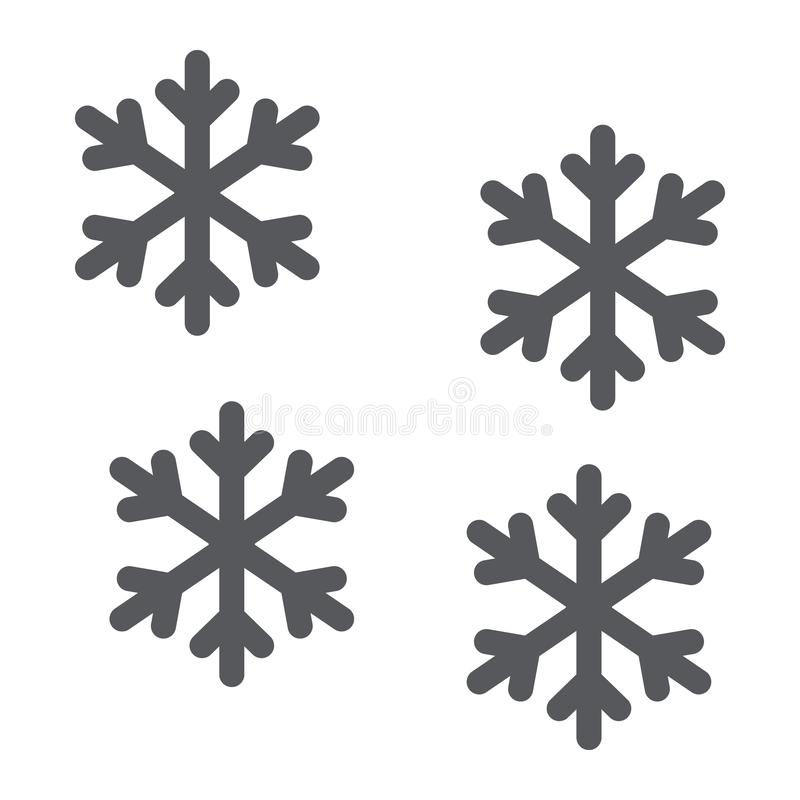 Snowflake glyph εικονίδιο, χειμώνας και πρόβλεψη, σημάδι χιονιού, διανυσματική γραφική παράσταση, ένα στερεό σχέδιο σε ένα άσπρο  ελεύθερη απεικόνιση δικαιώματος