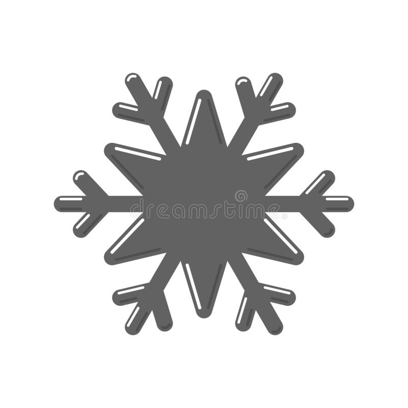 Snowflake gray icon. Cartoon snow flake sign isolated on white background. Symbol of Christmas holiday, winter. Celebration. New Year silhouette pattern for stock illustration