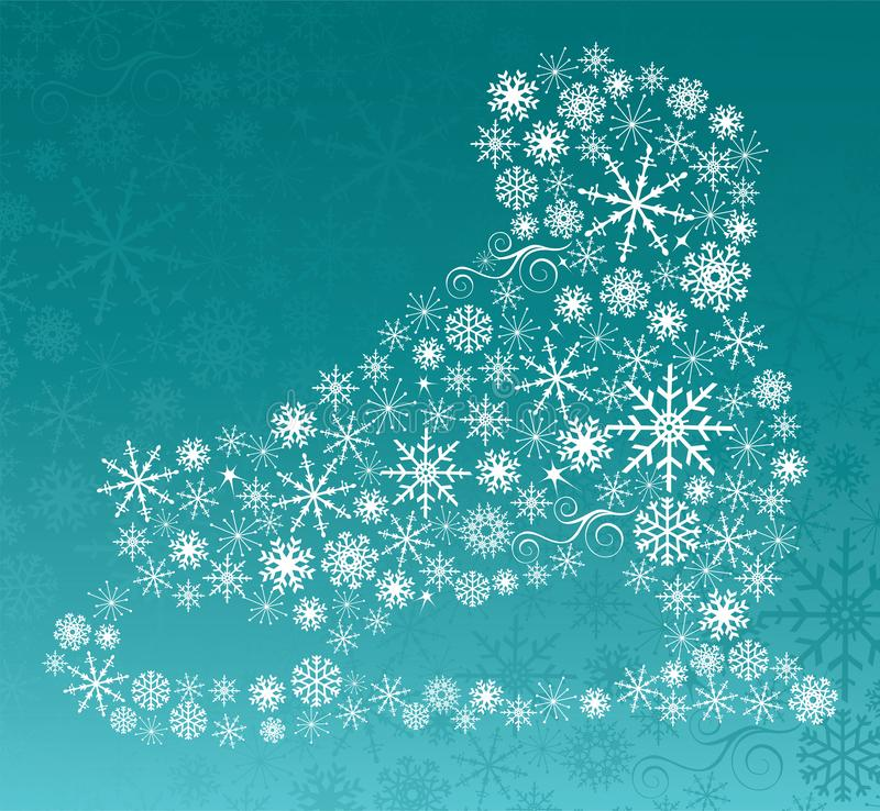 Ice Skate Created with Assorted Snowflakes stock photography