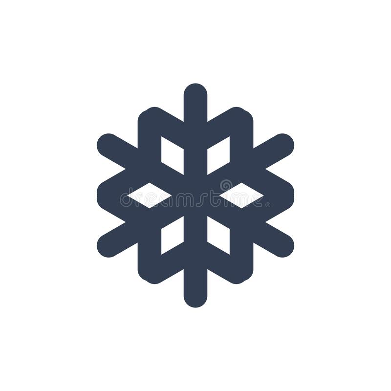 Snowflake icon. Black silhouette snow flake sign, isolated on white background. Flat design. Symbol of winter, frozen. Christmas, New Year holiday. Graphic stock illustration