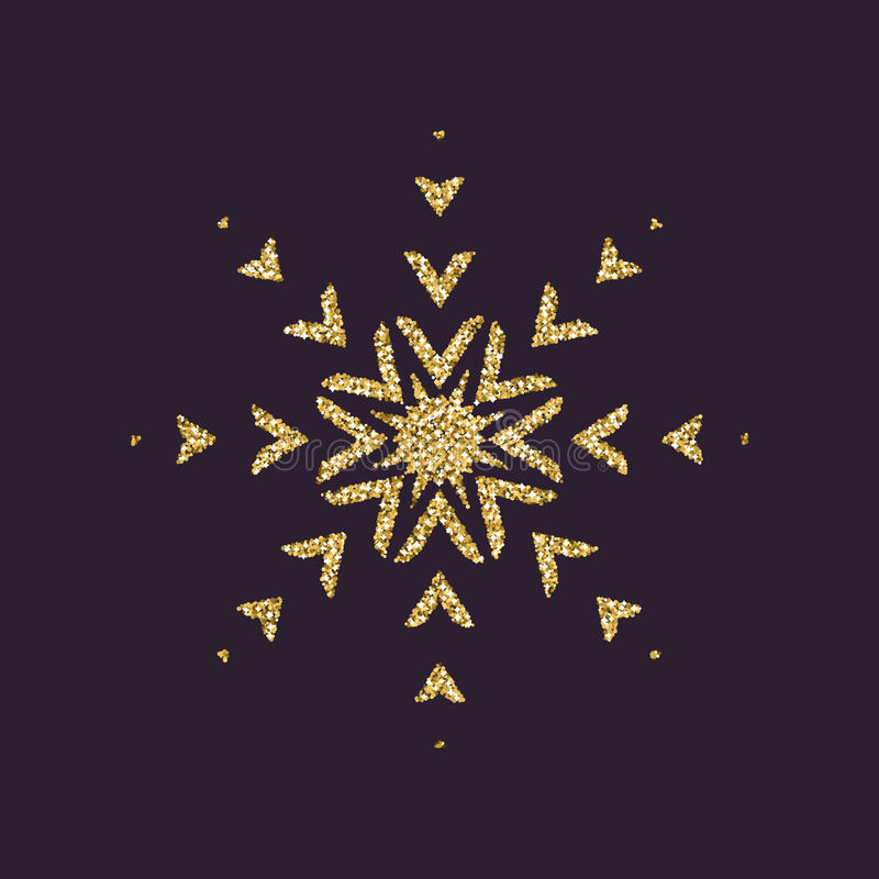 Snowflake Icon Christmas And New Year Xmas Winter Symbol Gold