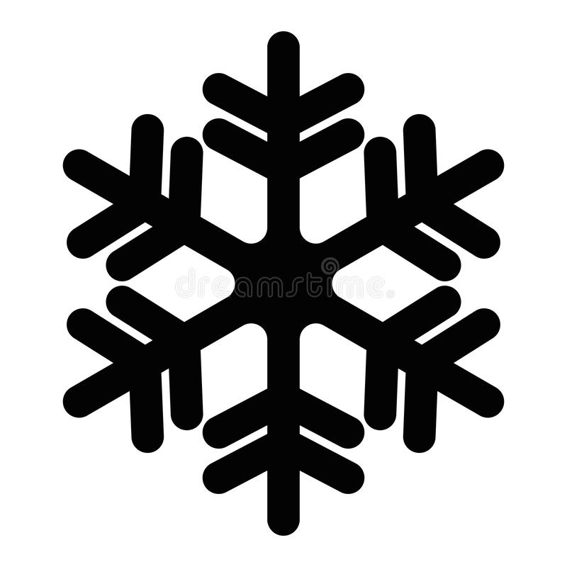 Snowflake icon. Christmas and winter theme. Simple flat black illustration with rounded corners on white background royalty free illustration