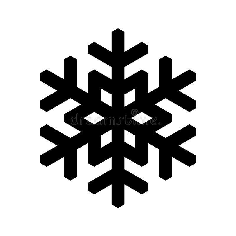 Snowflake icon. Christmas and winter theme. Simple flat black illustration on white background.  vector illustration
