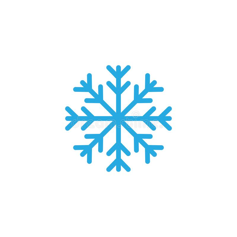 Snowflake icon graphic design template illustration. Black logo winter cold line blue simple pattern ornate background silhouette snowfall cute shape geometric vector illustration