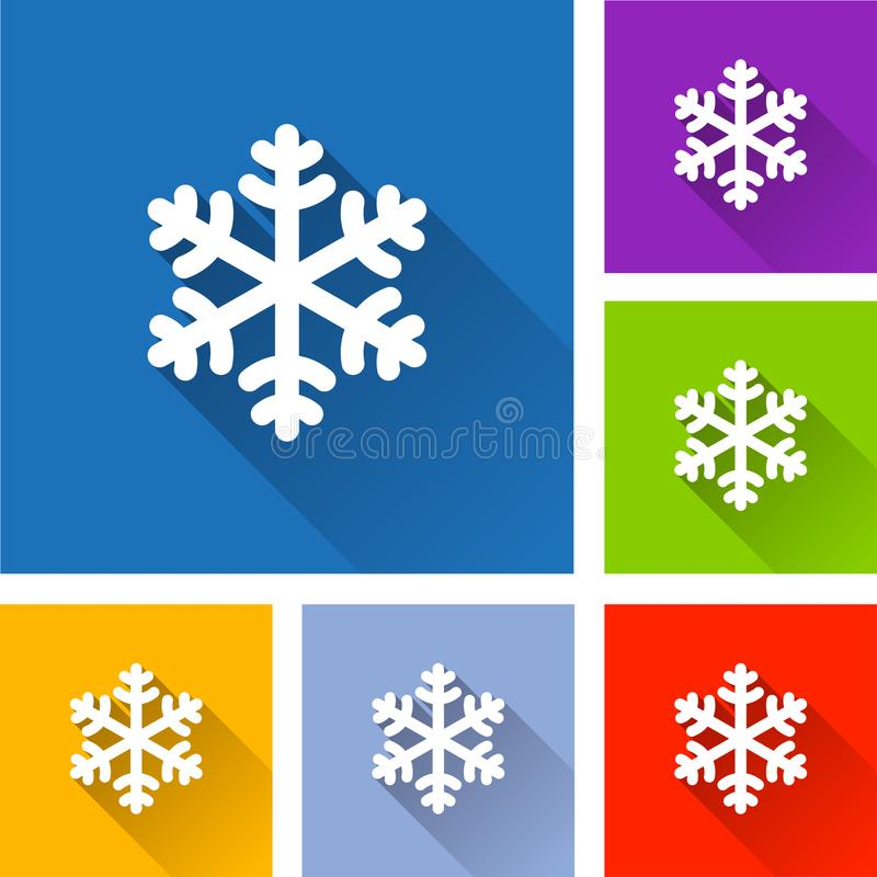 Snowflake icons with long shadow vector illustration