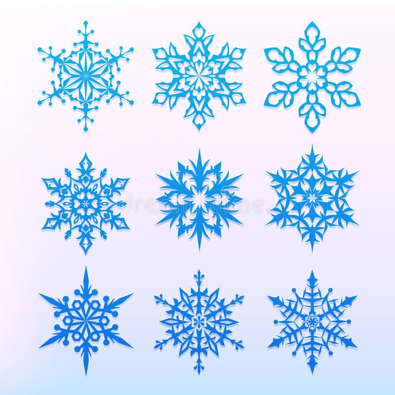 Snowflake icons set. Christmas holiday symbol. Snow for creation of New Year artistic compositions. Winter decoration vector. Snowflake icons set. Christmas stock illustration