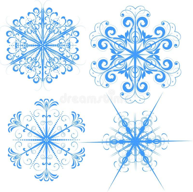 Snowflake illustrations. Detailed illustration of stylized snowflakes royalty free illustration
