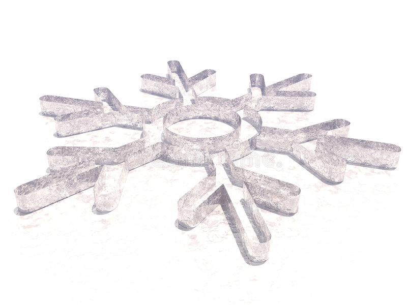 Snowflake lying on ice. In the white background royalty free illustration