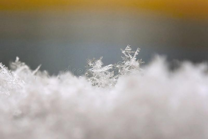 Snowflake. Macro photo of real snow crystal. Beautiful winter background seasonal nature and the weather in winter. royalty free stock image