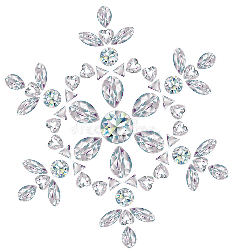 Snowflake made from different cut diamonds royalty free illustration