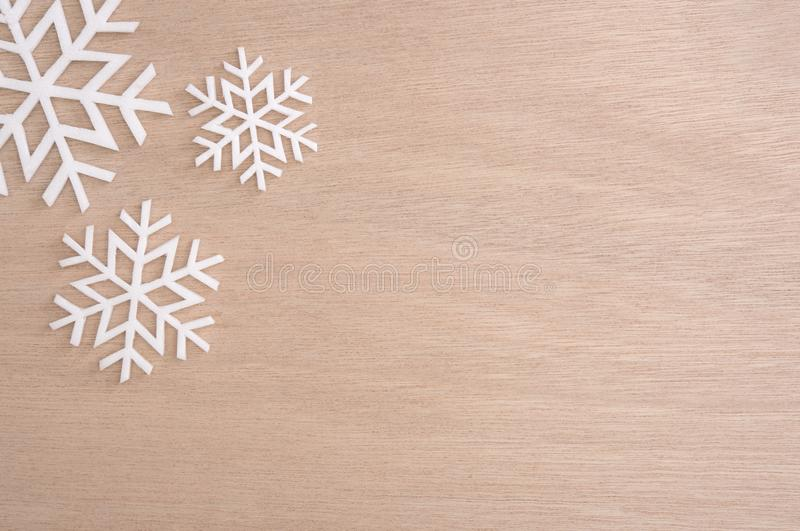 Snowflake for Merry Christmas and Happy New Year on table. Snowflake for Merry Christmas and Happy New Year 2018 on table stock photography