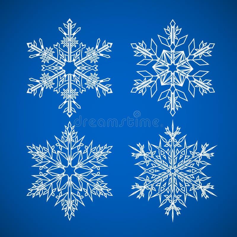 snowflake Os ícones do vetor ajustaram-se A neve do Natal do inverno é um elemento de cristal liso ilustração stock