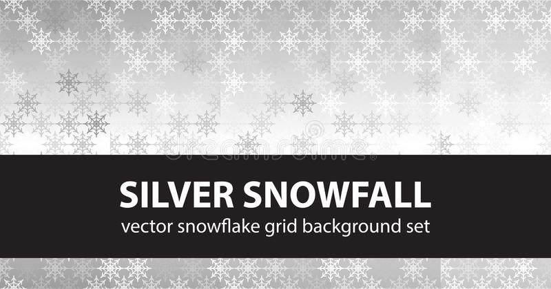 Snowflake pattern set Silver Snowfall. Vector seamless backgrounds. Gray, silver and white snowflakes on gradient backdrop vector illustration