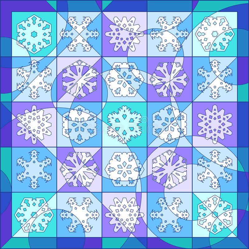 Snowflake quilt. Winter quilt composed of snowflake shaped patches vector illustration