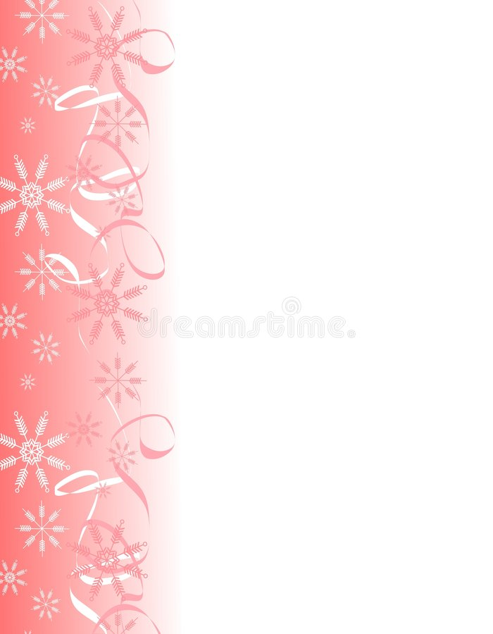 Snowflake Ribbons Border 2. A clip art illustration of a decorative Christmas page border with holiday snowflake ribbons in light colors royalty free illustration