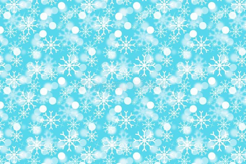 Snowflake seamless pattern on blue background. Illustration design. Winter, art, bokeh, circle, white, wallpaper, backdrop, color, concept, creative, needs royalty free illustration
