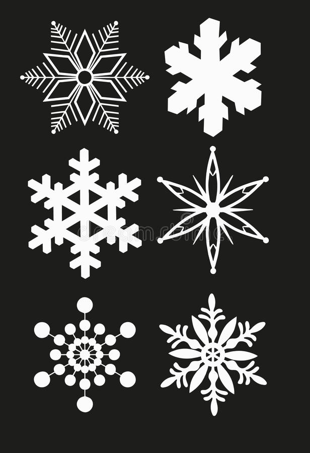 SNOWFLAKE SET VECTOR. Isolated snowflake vector set on black stock illustration