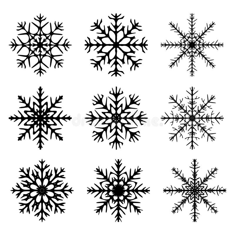Snowflake silhouette icon, symbol, design. Winter, christmas vector illustration on the white background. Snowflake silhouette icon, symbol, design. Winter royalty free illustration