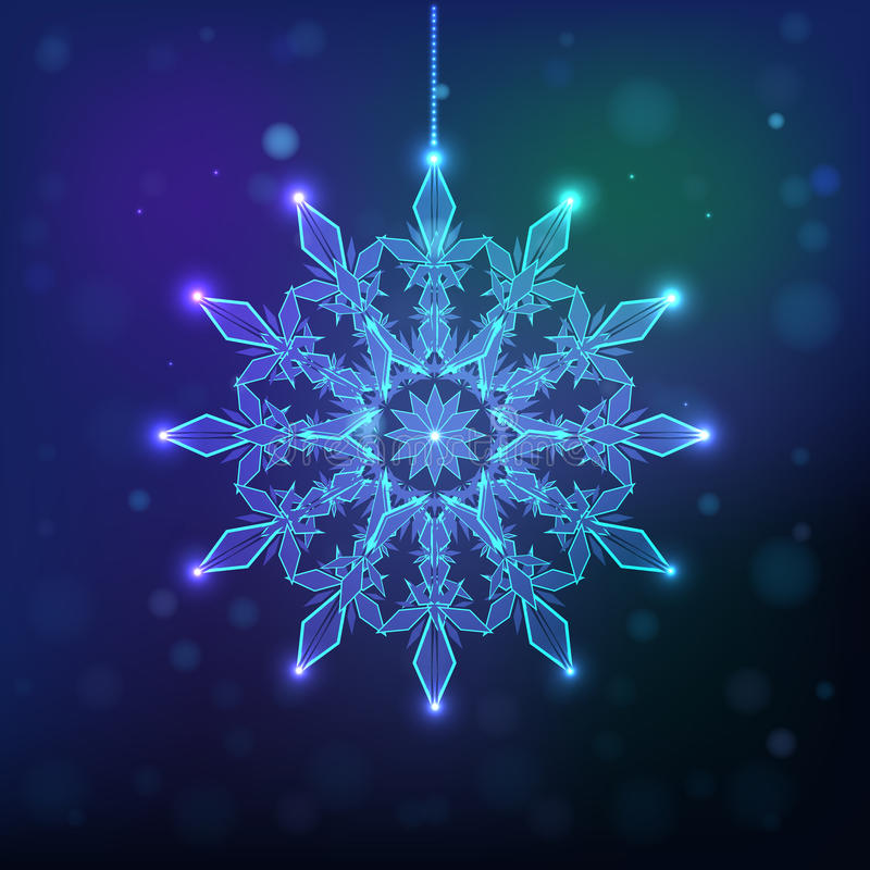 Snowflake sparkles on a dark background, royalty free stock photography