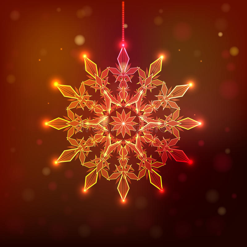 Snowflake sparkles on a dark red background, royalty free stock images