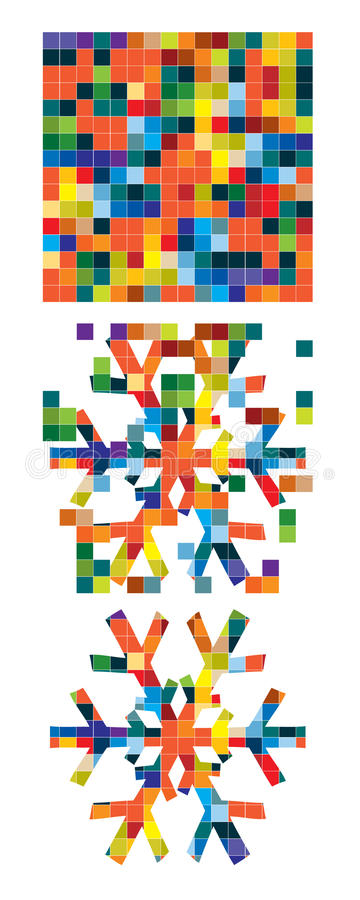 Download Snowflake from squares stock illustration. Image of falling - 11620639