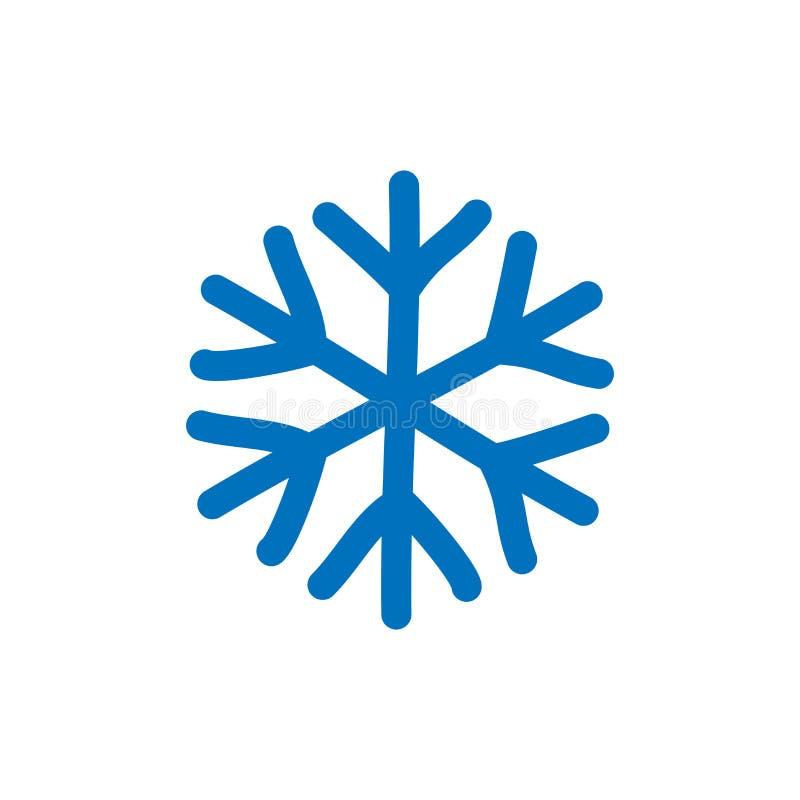 Snowflake-tecken Ikonen för blå snöflake isolerad på vit bakgrund Snow flake silhouette Symbol för snö, semester, kyla stock illustrationer