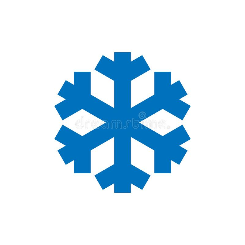 Snowflake-tecken Ikonen för blå snöflake isolerad på vit bakgrund Snow flake silhouette Symbol för snö, semester, kyla royaltyfri illustrationer