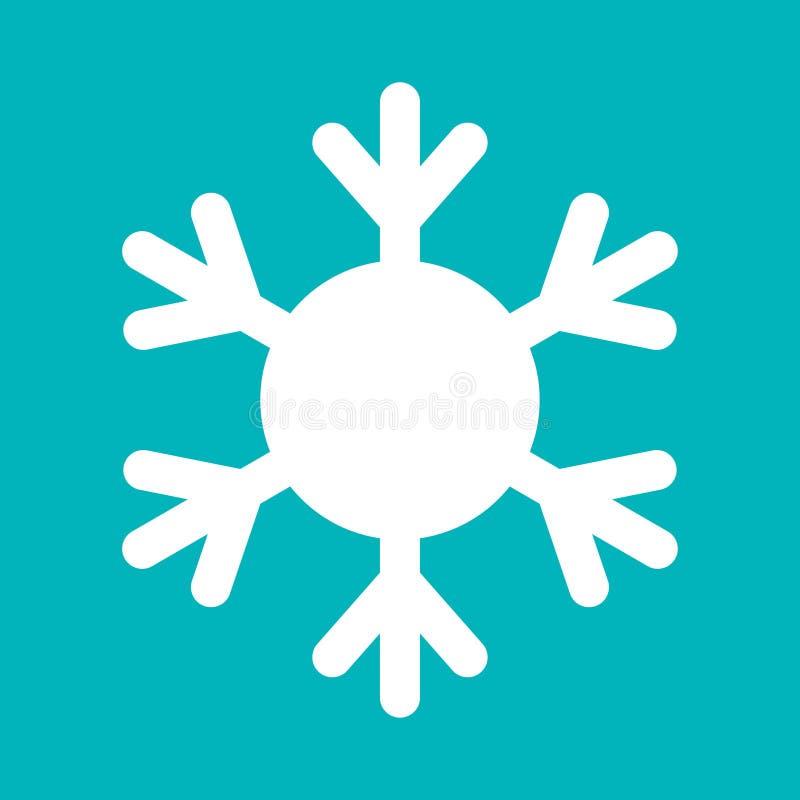 Snowflake-tecken Ikonen för vit snöflinga isolerad på blå bakgrund Snow flake silhouette Symbol för snö, semester, kyla royaltyfri illustrationer