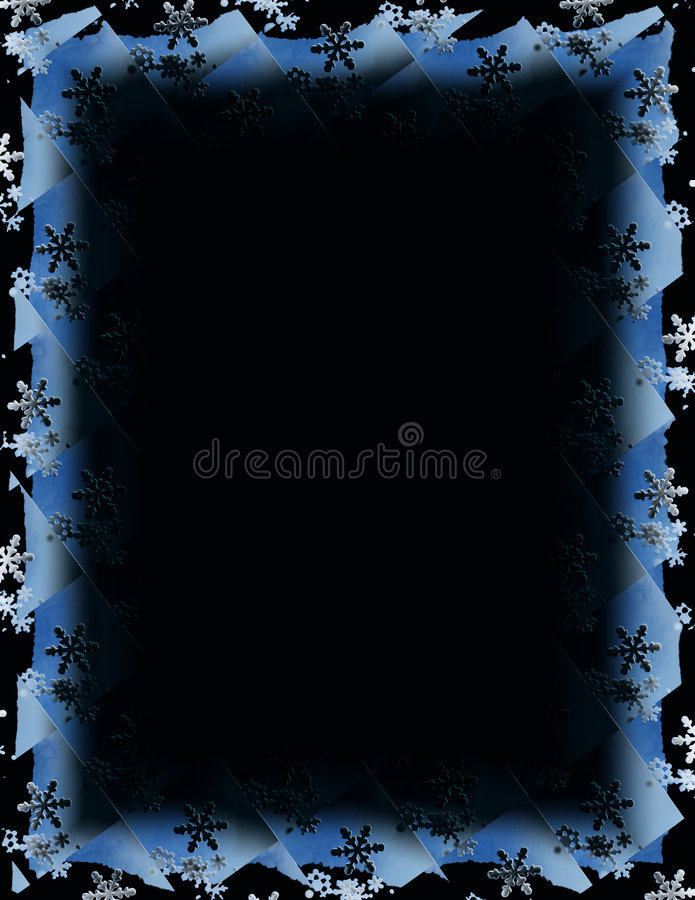 Snowflake Tile Border over Black royalty free illustration