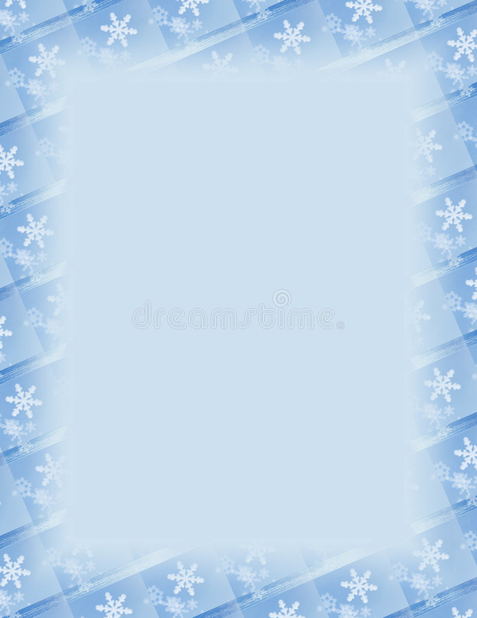 Snowflake Tile Border over Blue stock illustration