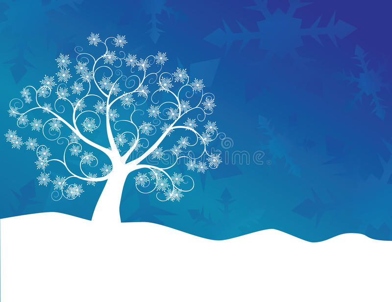 Snowflake Tree. White abstract swirly tree with snowflake leaves and snow drift foreground against an abstract blue gradient background. Winter or Christmas