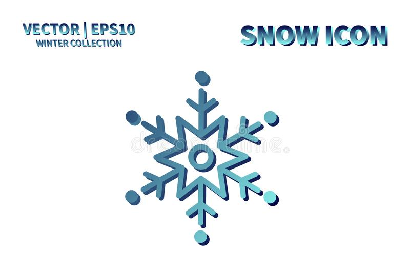 Snowflake vector icon. Christmas and winter snow flake element. Isolated flat new year holiday decoration illustration. Cold weath stock photo